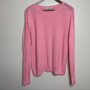 LOFT Light Pink Sweater with Crochet Eyelet Sleeve